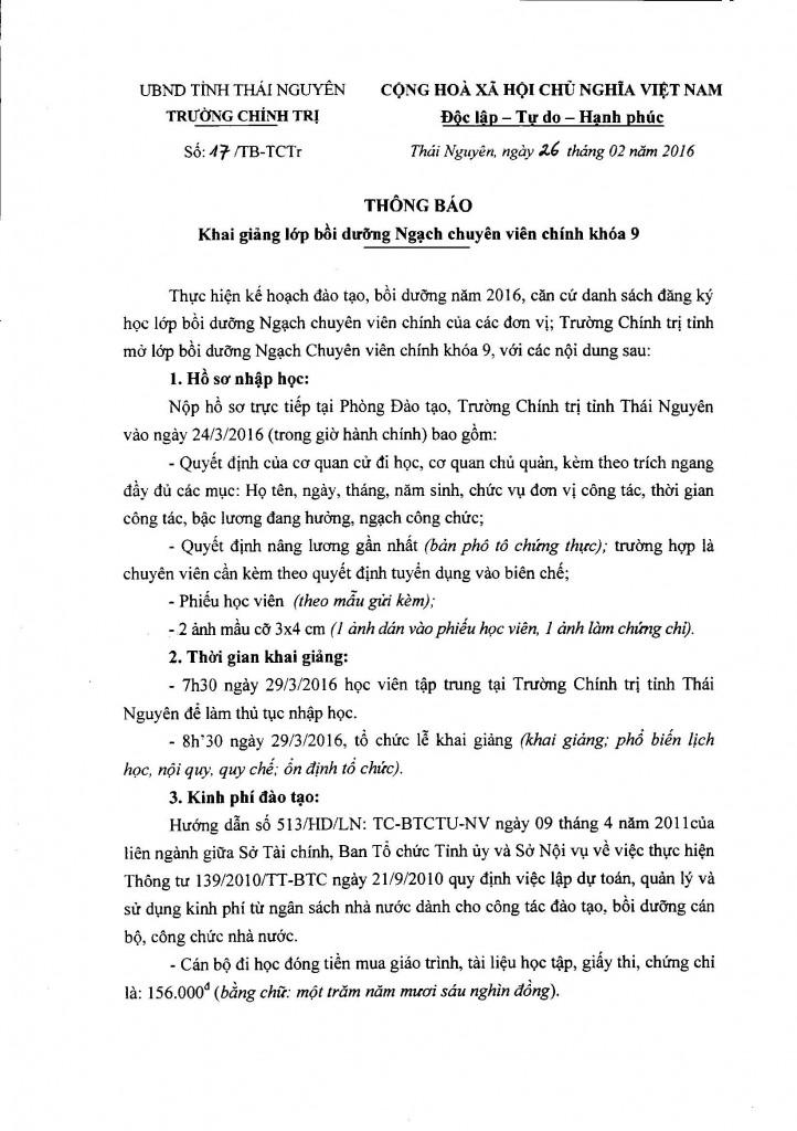 17 Thông báo Khai giảng lớp bồi dưỡng ngạch chuyên viên chính khóa 9 part1